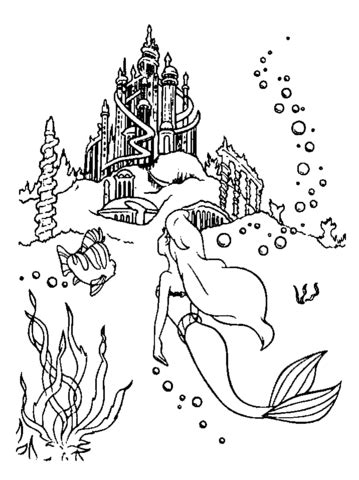 Little Mermaid Castle Coloring Page | ariel is going to the castle coloring page free
