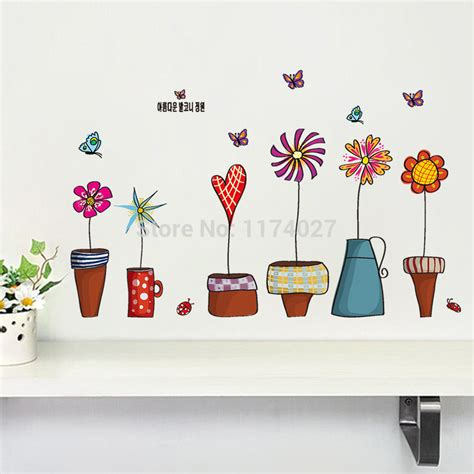 Home Decor Free Shipping by Free Shipping Cartoon Flower Butterfly Wall Stickers