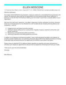 Cover Letter For A Nursing Assistant by Ceritified Nursing Assistant Cover Letter Exles Livecareer