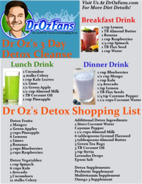 Dr Oz Detox Cleanse by Dr Oz 3 Day Detox Cleanse Shopping List Drink Recipes