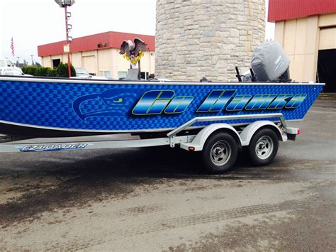 custom boat wraps coho design makes boat graphics and custom vinyl boat wraps