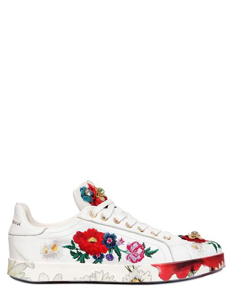 Sneakers White Flower dolce gabbana 20mm floral embellished leather sneakers
