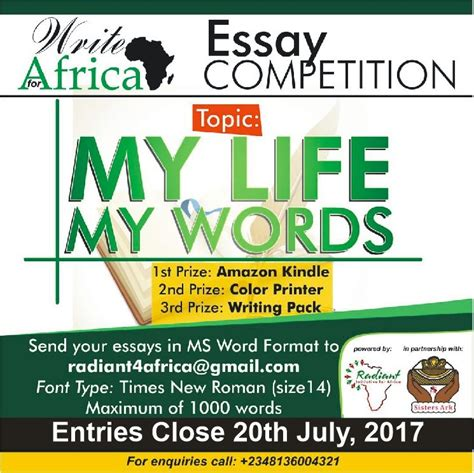 Asia Writes Essay Competition by Write For Africa Essay Competition 2017 Opportunity Desk