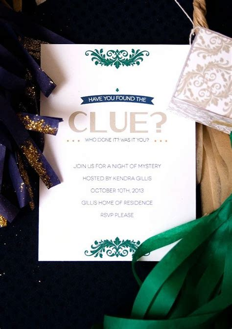 clue mystery party   invitation printable pretty party printables pinterest mystery