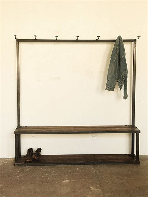 hall tree coat rack with bench coat rack bench industrial hall trees by strawser