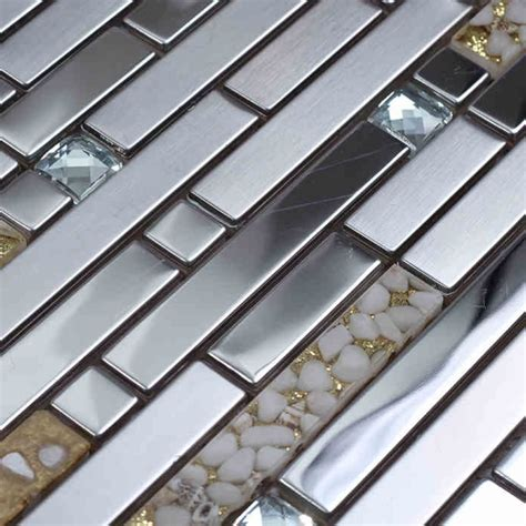 How To Install Glass Mosaic Tile Kitchen Backsplash silver stainless steel strip mixed shell resin mosaic tile