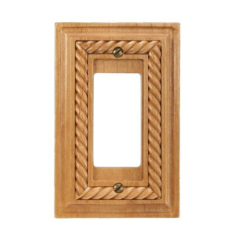 amerelle rope 1 decora wall plate light oak 4011r the