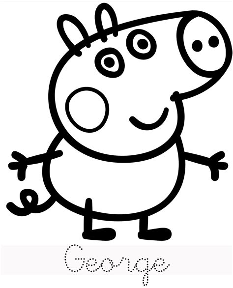 colouring pictures of peppa pig and george free coloring pages of peppa pig george