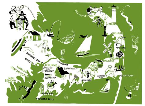 map of the cape cod cape cod on sea fishing fishing boats
