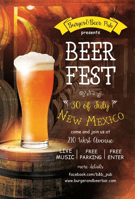 Beer Fest Free Pub Flyer Template Freebies For Bar And Pub Events Bar Flyer Templates Free