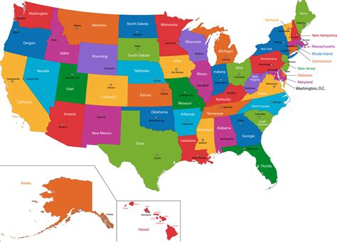map of the united states and their capitals united states of america states capitals know it all