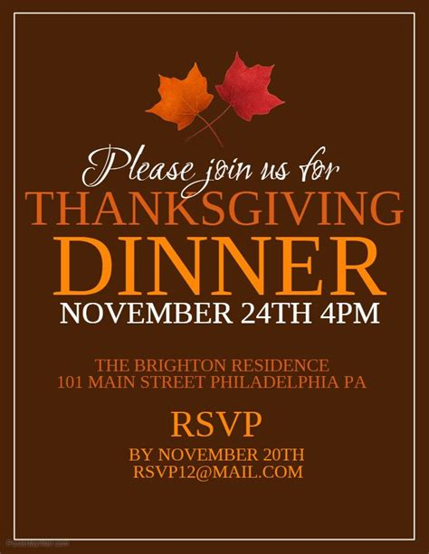 Thanksgiving Dinner Invitation Flyer Template Thanksgiving Poster Templates Pinterest Dinner Poster Template