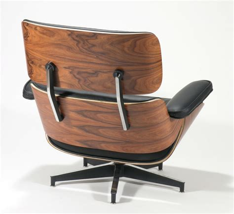 charles eames style rosewood lounge chair  ottoman genuine black leather ebay