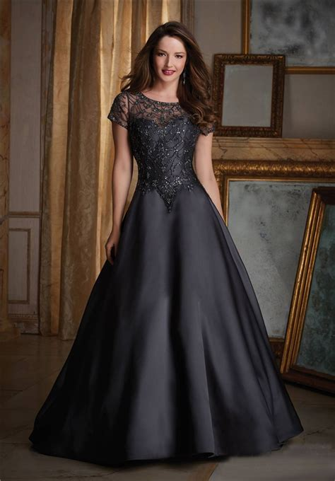 Sleeve A Line Evening Dress a line black satin tulle beaded formal occasion