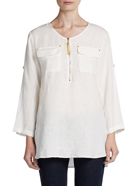 Tab Sleeved Linen Top lyst tracy roll tab sleeve linen tunic in white
