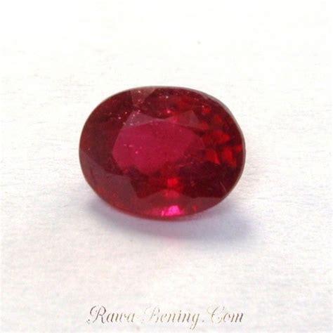 Sapphire Tajam permata ruby oval 1 56 carat luster merah menyala tajam