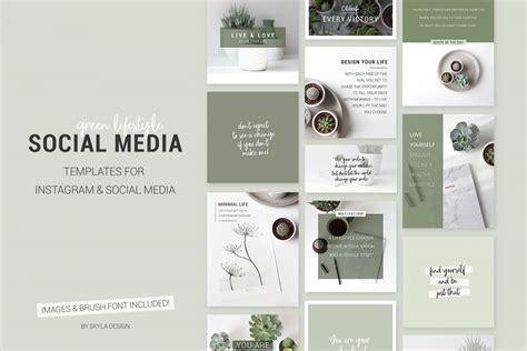 Green Lifestyle Social Media Templates Instagram Bloggers Social Media Design Templates