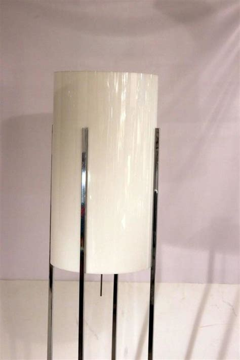 Perspex L Shades by Chrome Base Floor L With Lucite Cylinder Shade By