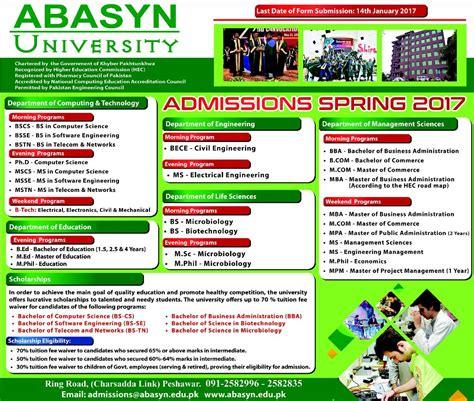 Peshawar Mba Admission 2017 by Admission Open In Abasyn Peshawar 12 Jan 2017