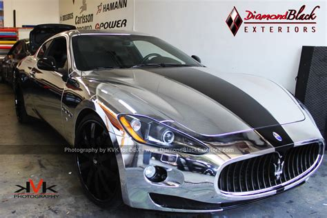 maserati chrome maserati granturismo wrapped in silver chrome by dbx
