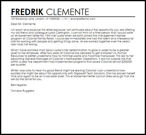 Endorsement Letter Recommendation Endorsement Letter Letters Livecareer