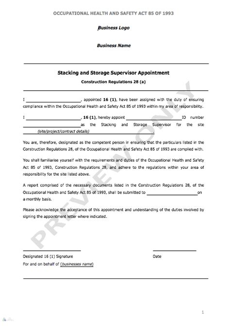 stacking storage supervisor appointment letter aj