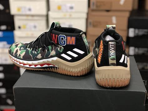bape sneakers for sale 2018 cheap bape adidas dame 4 green camo shoes for sale