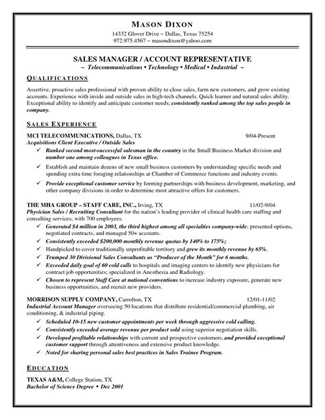 salesman resume exles sales resume