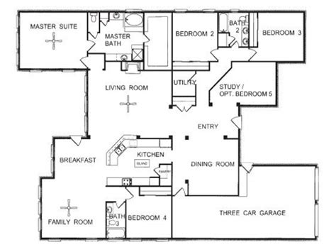One Story 4 Bedroom House Plans One Story Floor Plans One Story Open Floor House Plans One Story House Blueprints Mexzhouse