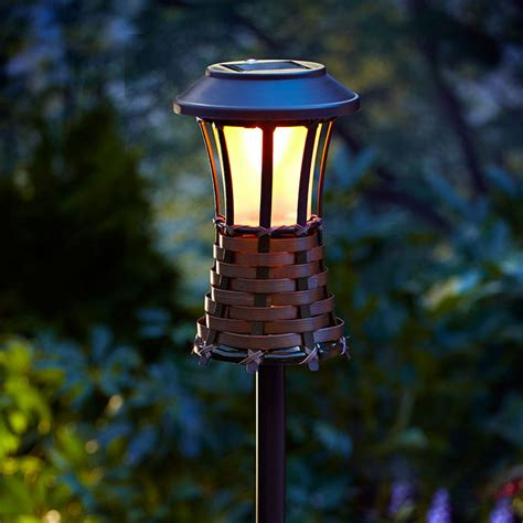 Tiki Solar Lights Outdoor Brown Woven Torch Light Solar Powered Led