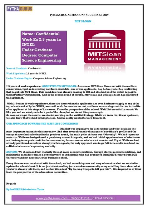 Mba Admissions Age Sloan by Mba Admissions Success Story Student Admitted In Mit Sloan
