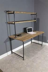 Industrial Corner Computer Desk Reclaimed Computer Desk W 2 Shelves By