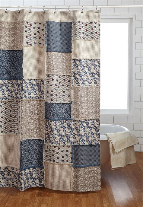Blue Patchwork Curtains - millie shower curtain creme country cottage
