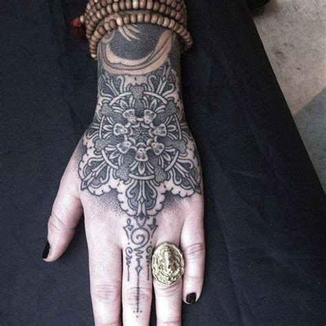 pretty hand tattoos a cool blackwork hindu on