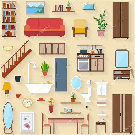casas de muebles muebles para habitaciones de casa vector de stock