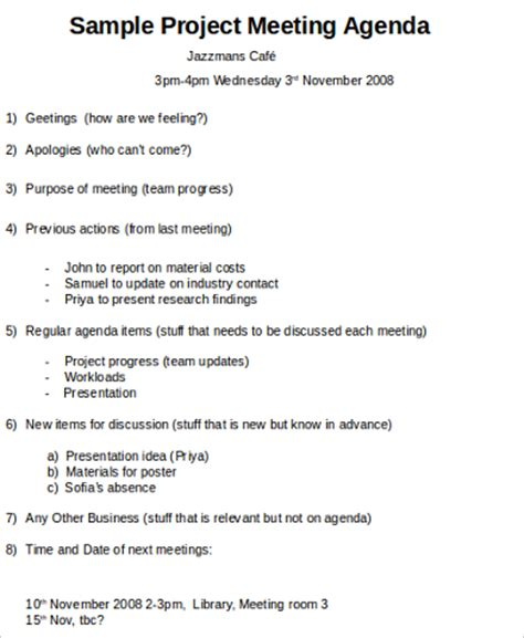 team meeting agenda 6 team meeting agenda sles sle templates