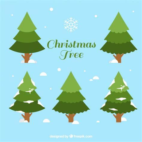 Set Snowy set of snowy pine trees vector free