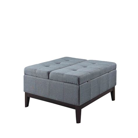 blue ottoman coffee table blue grey dual lift storage coffee table ottoman hb4690