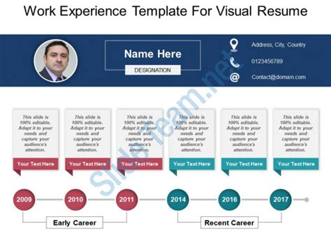 visual resume templates ppt work experience template for visual resume powerpoint ideas presentation powerpoint templates
