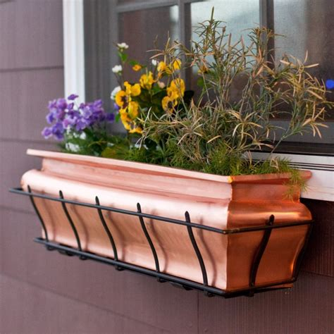 copper window boxes copper garden outdoor sculpture statue and decor pieces