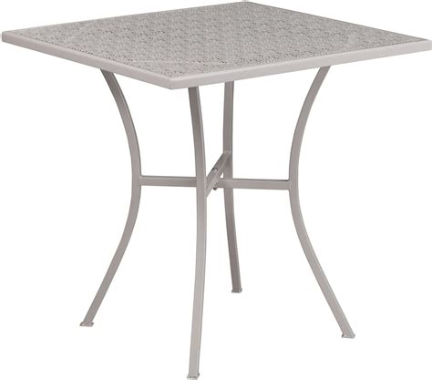 Steel Patio Table 28 Quot Square Light Gray Indoor Outdoor Steel Patio Table From Renegade Coleman Furniture