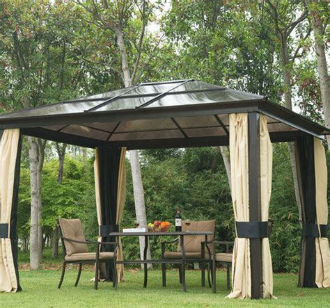 archfield hard top gazebo outsunny 12 x10 top gazebo deluxe roof with mosquito netting curtains new ebay