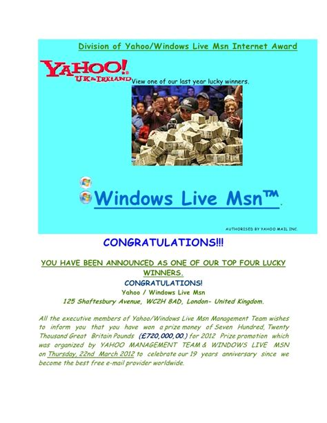 Yahoo Award Letter Yahoo Msn Award Notification Letter