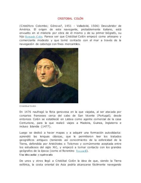 biografia cristobal colon resumen cristobal col 243 n biografia