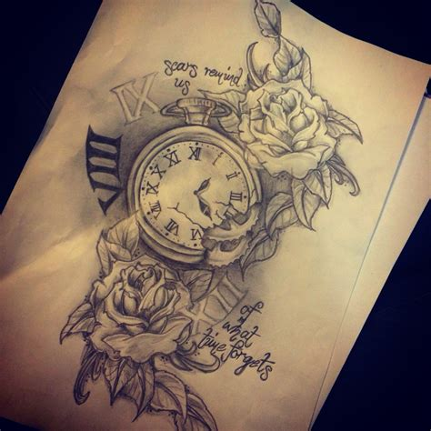 pocket watch and rose tattoo design roses around the fading clock stopped at the time kamdyn