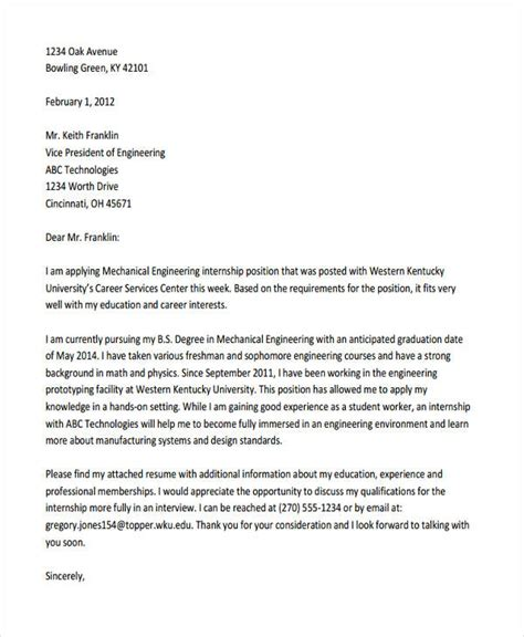 application letter for internship engineering 28 images