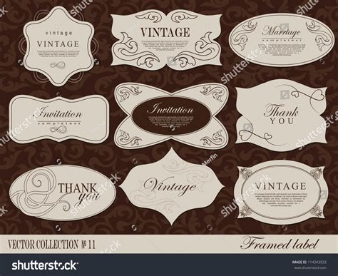 Label Card Template by Retro Vector Framed Label Design Template Stock Vector