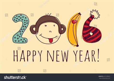 happy new year monkey monkey happy new year greeting card monkey with sign