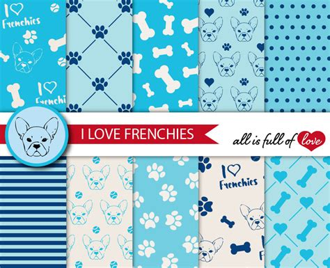 paper pattern in french i love frenchies digital paper french b design bundles