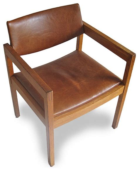 mid century leather chair mid century leather gunlocke chair midcentury